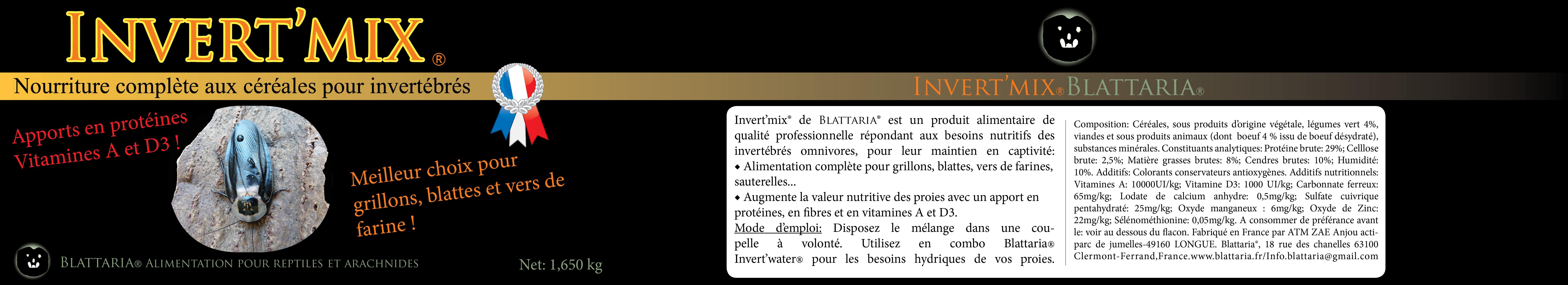 Invert-mix-nourriture-insectes-grillons-blattes-vers-de-farine-protéines-vitamines-D3-légumes